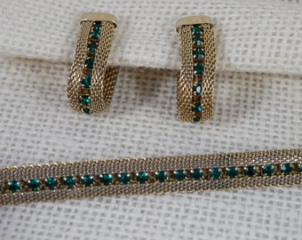 Gold Tone Mesh with Green Crystal Rhinestone Bracelet and Earrings Set