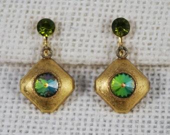 Brushed Gold Tone Earrings with Olive Green Rivoli Rhinestones