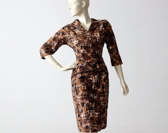 SALE 1950s wiggle dress with abstract print, vintage brown pencil dress