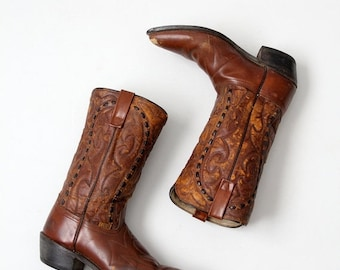 SALE vintage Lariat cowboy boots, brown leather boots, men's size 9