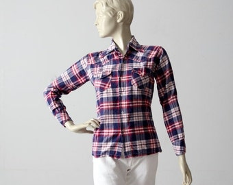 SALE 70s plaid cotton shirt, red white and blue button down