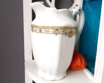 French Vintage Art deco  Porcelain ' LIMOGES milk jug , pitcher 1930