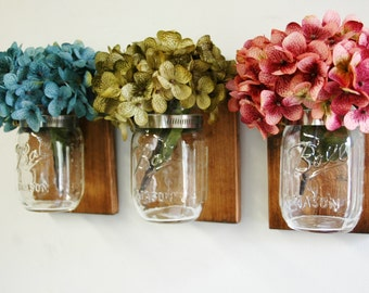 Rustic Charm Mason jars on knotty pine wood, rustic wall decor, cabin decor, home decor, rustic decor, primitive decor, hydrangea flower