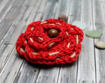 Brooch Flower crochet red natural tread