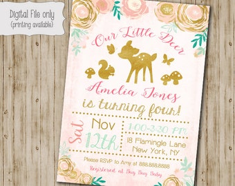 Gold Floral Deer Girl Birthday Invitation, Woodland Birthday invite, Watercolor, Floral, Wood, Shabby Chic, Boho Birthday Invitation