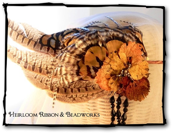 Autumn Enchantment Fancy Feathered Headpiece, Fall Festival Crown, Tribal Headband, Boho Headpiece, Feathered Crown, Rustic Bridal Headpiece