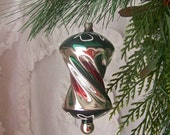 Vintage Christmas Ornament Twist Green Red Silver Glass Ornament Holiday Decor 1970s