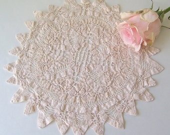 Vintage Linen Doily Hand Crafted Lacy Ecru Linen Cloth Shabby Cottage Decor 1970s