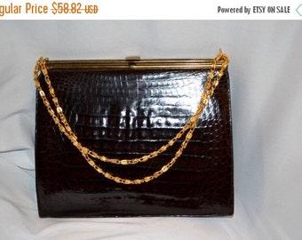 On SALE 1950s Vintage EXOTIC Aligator Leather Handbag  Prim & Proper Pocketbook Jackie O Excellent Condition