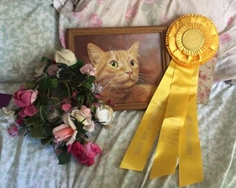 Vintage CFA CAT Show Satin Ribbon Rosette Award Best Cat   Shorthair SanFrancisco Sunshine Yellow