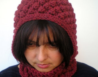 PopCorn Bordeaux Color  Little  Hoodie Mixed Wool Yarn Hood Woman Hooded Cowl NEW