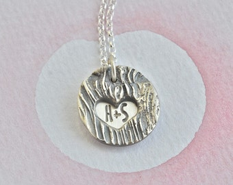 Your Initials, Silver Woodgrain Pendant