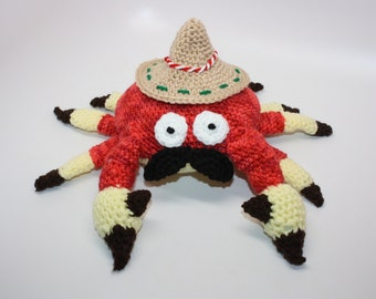Crochet Mexican Crab / Stuffed Crab Toy / Fiesta Crab Amigurumi / Funny Gift / Crab With Sombrero / Ready to Ship