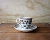 Vintage Upsala Ekeby Gefle  Demitasse Cup and Saucer Set