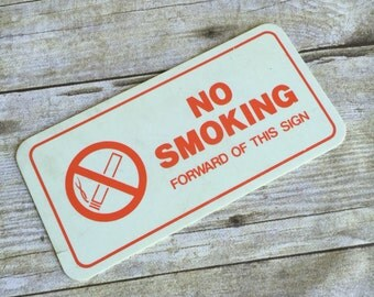 Vintage No Smoking Sign - Red and White