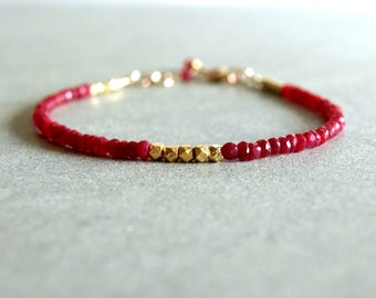 Ruby Gold Bracelet, woman's Valentine gift, genuine red rubies, 14k goldfilled, small beaded bracelet, stacking, layering, real ruby jewelry