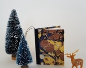 SALE - Christmas Ornament - Miniature Book Christmas Tree Ornament or Gift Tag - Marbled Paper