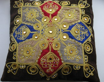 Embroidered Velvet Pillow Cover. Mirrors and Bead Ethnic Cushion.  Gold decor pillow. 16x16 inches