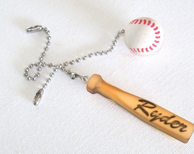 Personalized Baseball and Bat Ceiling Fan Light Pull Set / Personalized Sports Gift / Mancave Decor / Coach Gift / Graduation Gift