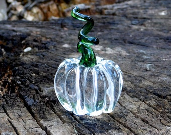 Hand Sculpted Clear Glass Pumpkin, Green stem, Ready To Ship