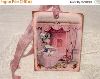 Christmas in July French Gift Tags, Vintage Style Gift Tags Marie Antoinette in her Bedroom Boudoir Gift Tags Boud002 ECS