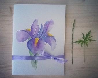 Iris - Handmade and Handpainted Notebook