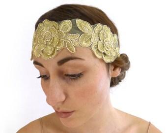 Gold Flower Flapper Headband Women Hairband Bohemian Indie Hair Accessories Gift for Her 1920s Gypsy Hippie Folk Woodland Bridesmaid