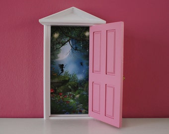 Pink tooth fairy door, wooden and opening comes with key and fairy dust