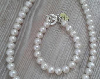 Ivory Fresh Water Pearl Bracelet UK Made