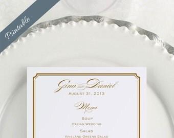 Wedding Menu Printable Menu Gold Wedding Menu Printable
