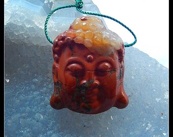 Carved Red River Jasper  Gemstone Buddha Head Pendant Bead,31x25x11mm,14.2g
