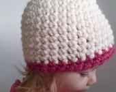 Simple Crochet Child's Beanie Hat Contrast Edge Made to Order custom color Toddler's Child's warm wool winter autumn