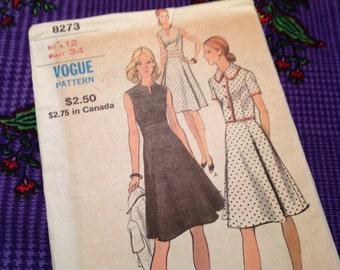 Vintage Vogue Pattern 8273, 70'smpattern, dress and jacket pattern, size 12 pattern