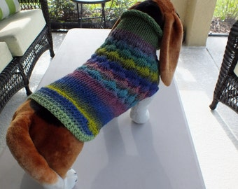 Dog Coat Hand Knit NORO Doxie Large 17 inches long Noro Merino Wool