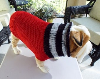 "Dog Sweater Hand Knit English Bulldog Red 19"" inches long Merino Wool"