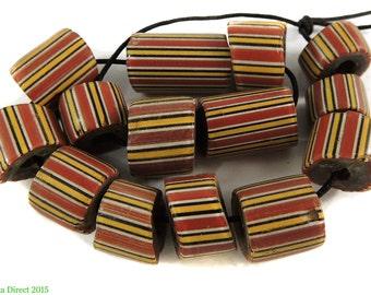 14 Striped Greenhearts Venetian Trade Beads Africa 99057