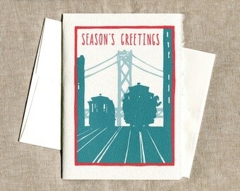 Cable Car Season's Greetings Greeting Card - San Francisco, CA - San Francisco Art, SF Art, Cable Car Art, Christmas Card, Holiday Card