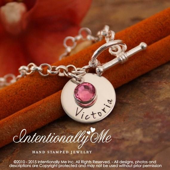 Hand Stamped Toggle Bracelet - Personalized Charm Bracelet - Mommy Bracelet with birthstone - My only one