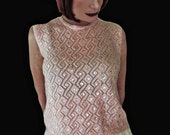 Vintage Pink Sequin Sweater Top - 60s Pink Shell with Sequins & Beads - M