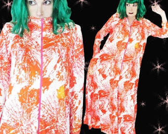 Ugly Vintage Halloween Robe - 70s Orange Nylon Dressing Gown - AS IS - Cosplay