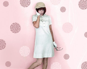 60s Mod Baby Doll Dress - Vintage 1960s Linen A-Line