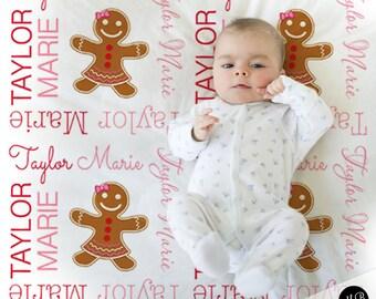 Holiday Name Blanket Gingerbread Girl, Girl, personalized blanket, keepsake blanket, baby blanket, personalized blanket, choose colors