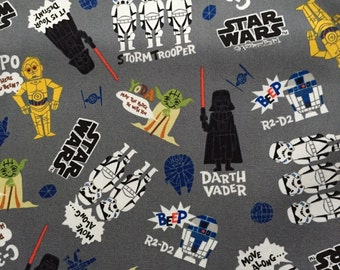 SALE Star Wars fabric Grey colour Anime Star wars 100cm x 48cm