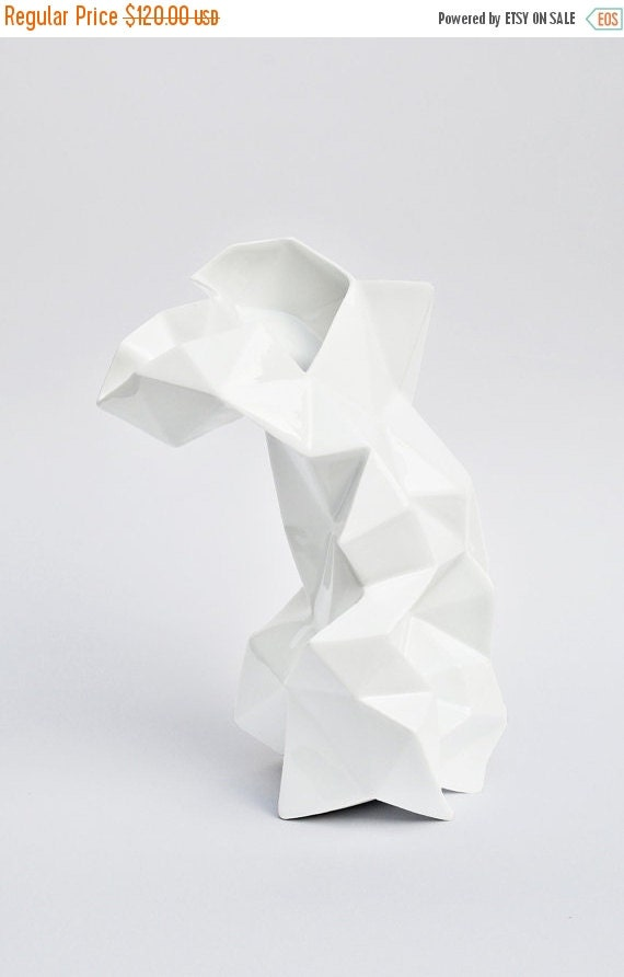 SALE Modern geometric white porcelain Vase - contrmporary ceramic design