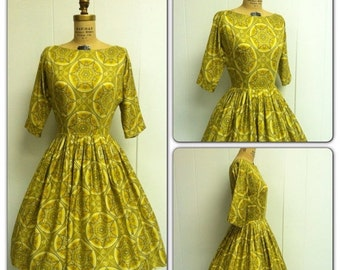 SALE 1950s Yellow Dress 50's