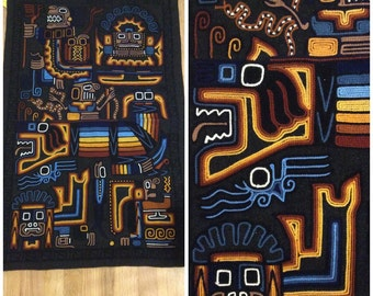 1970s Wall Hanging 70s Aztec Southestern Nativ American Large Embroidered
