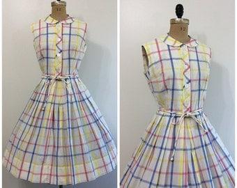 1950s Dress Cotton Plaid  Sundress 50s Blue Pink Yellow