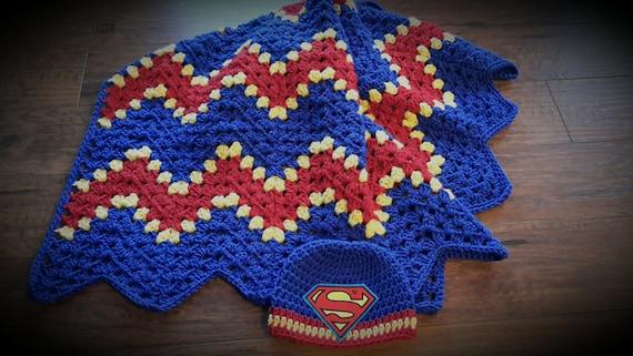 superman blanket set beanie hero blue by DonnasPinsandNeedles