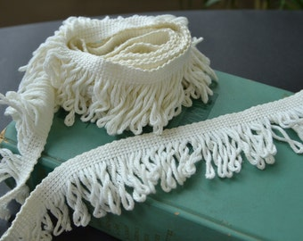 Vintage White Fringe Trim Wide Trim 2 yards and 14 inches (A14)
