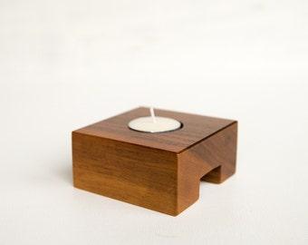 Modern Tealight Holder, Wood Tealight Holder, Walnut Candle Holder, Tealight Candle Holder, Handmade Modern Candle Holder